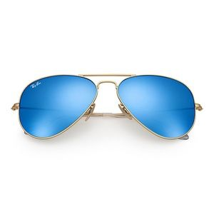 RAY BAN BLUE GOLD RIMMED SUNGLASSES